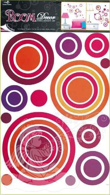 Samolepky na zeď kruhy růžové 1057, 70x42cm