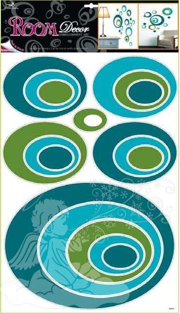Samolepky na zeď elipsy modré 1061, 70x42cm