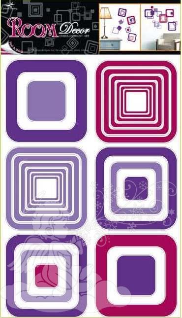 Samolepky na zeď čtverce fialové 1064, 70x42cm